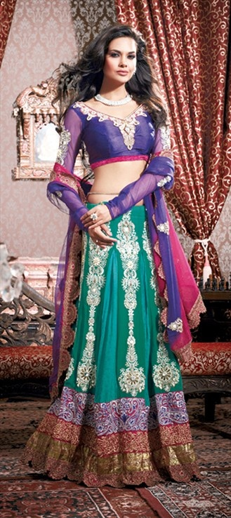 Wedding Lehngas, Bollywood sarees, Net, Faux Georgette, Lace, Sequence, Resham, Blue, Pink and Majenta Color