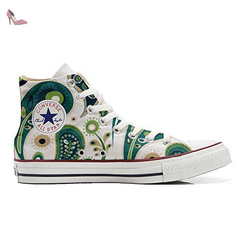 Converse All Star Hi chaussures Personnalisé et imprimés UNISEX (produit  artisanal) White Green Paisley 1 size 42 EU - Chaussures mys (*Partner-Link)
