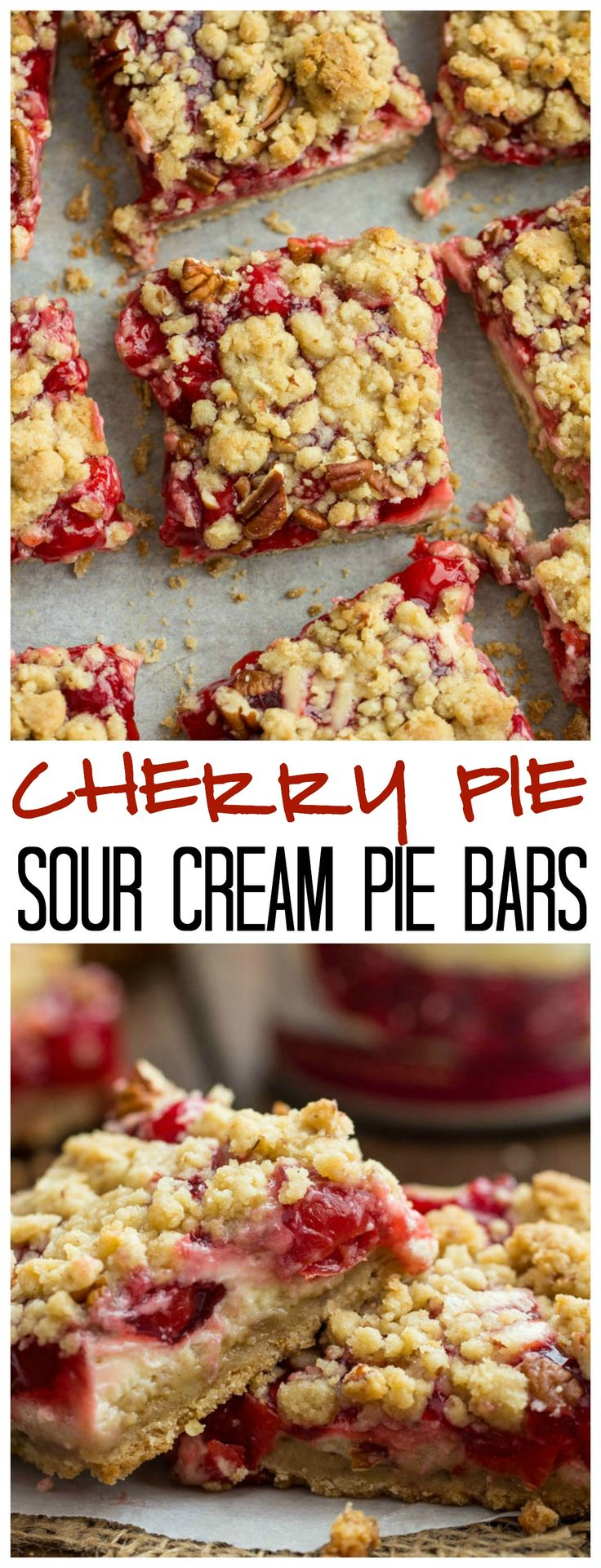 Cherry Pie Sour Cream Crumb Bars are filled with cherry pie filling and swirled with sweet and creamy sour cream and topped with crumb topping! These are amazing! #BakeThisHolidaySpecial