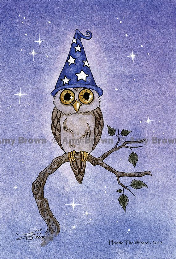 """""""Hootie the Wizard"""" Little Owls postcard set by Amy Brown by AmyBrownArt on Etsy"""