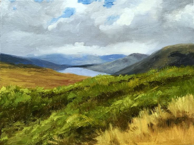 "Hills of Ireland. 9""x12"" oil on canvas panel."