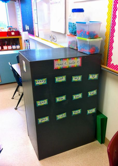 """""""Read It, Build It"""" magnetic letters sight word activity on the sides of a filing cabinet"""
