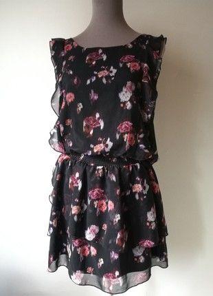 Kaufe meinen Artikel bei #Kleiderkreisel http://www.kleiderkreisel.de/damenmode/lassige-kleider/160368405-susses-herbstliches-kleid-pimkie-chiffon-schwarz-rosenmuster-m