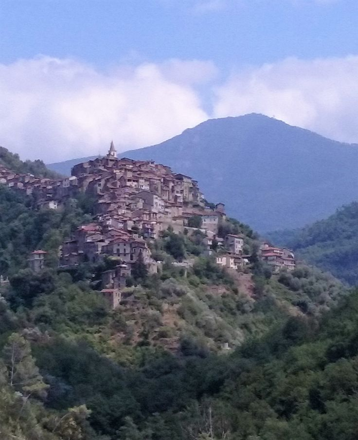 The view of Apricale in the Nervia Valley, just a few km from the beach and the French border.