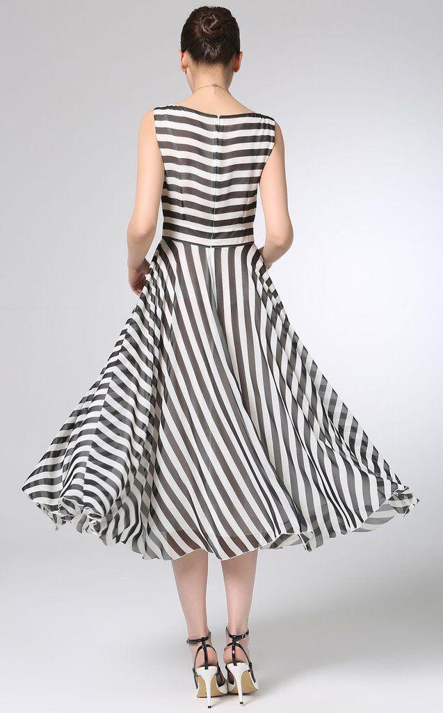 2eecb2e19 White black Stripe chiffon dress prom dress women bridesmaid dress (12 –  xiaolizi Vestido Retrô