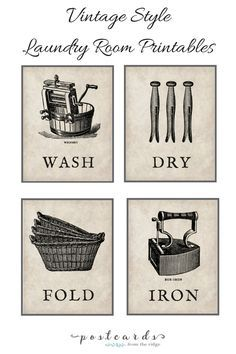Vintage Style Laundry Room Art -- 20 Free Farmhouse Printables : makingitinthemountains