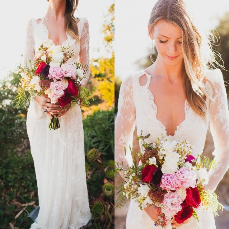 Vintage Bridal Gowns 2016 Spring Bohemian Wedding Dress With Long Sleeves Plunging Neck Sexy Open Back White Lace Beach Boho Bridal Party Gown Plus Size Cheap Wedding Dress Designs From Whiteone, $116.98| Dhgate.Com