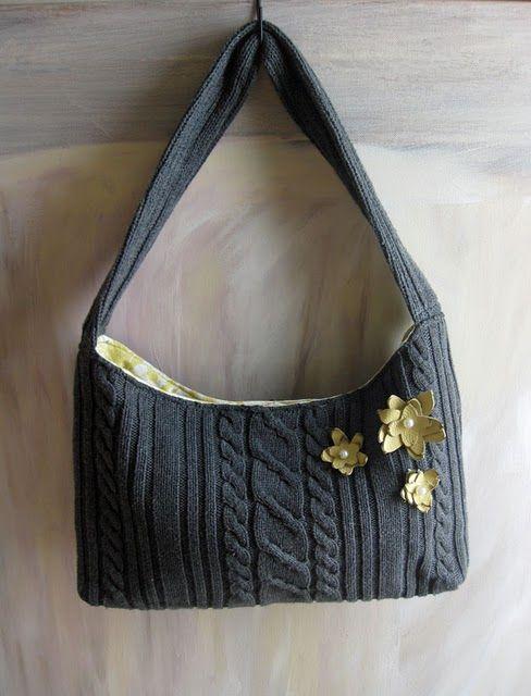 repurposed sweater purse