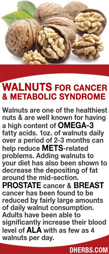 Walnuts are one of the healthiest nuts & are well known for having a high content of omega-3 fatty acids. 1oz. of walnuts daily over a period of 2-3 months can help reduce MetS-related problems. Adding walnuts to your diet decrease the depositing of fat around the mid-section. Prostate & breast cancer has been found to be reduced by fairly large amounts of daily walnut consumption. Adults have been able to significantly increase their blood level of ALA with as few as 4 walnuts per day…