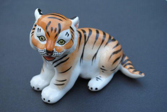 Porcelain Tiger Cub Lomonosov Porcelain Figurine by SoulSisters16