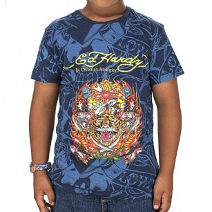 Ed Hardy Toddler Tiger T-Shirt - Navy - The Ed Hardy Toddler Tiger T-Shirt is a quality T-shirt in what your kids will look ravishing.This shirt features original ED Hardy graphics