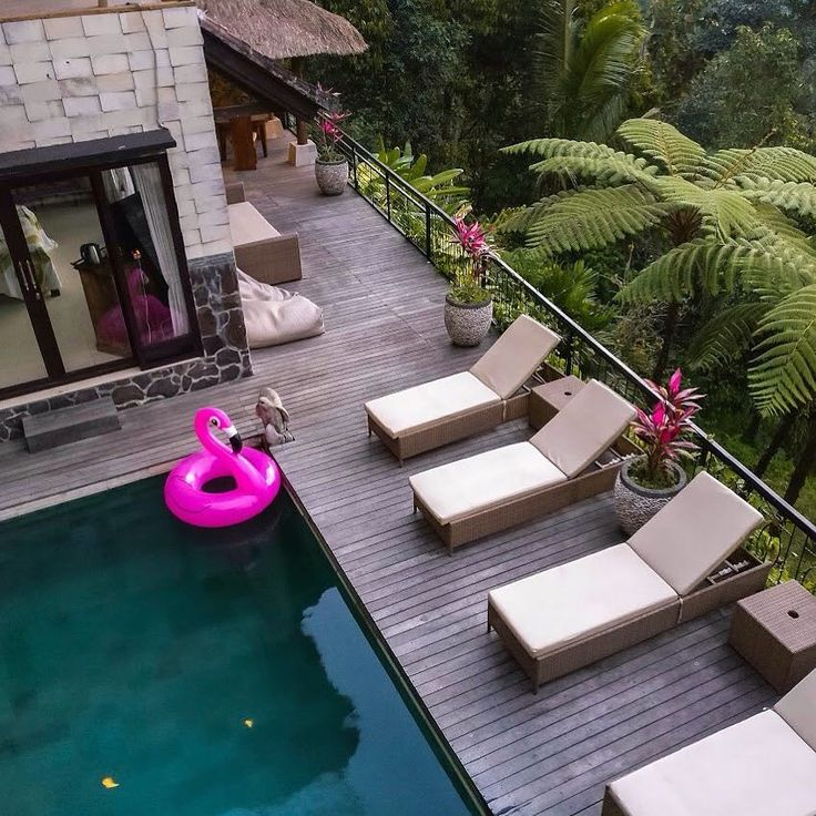 One of our favourite villas in #Bali was @hillsideedenbali. A new post is coming soon! How cute is this flamingo float! The villa is surrounded by mountains rice terraces and trees. There's also a hidden waterfall nearby! More about that later. #traveltuesday