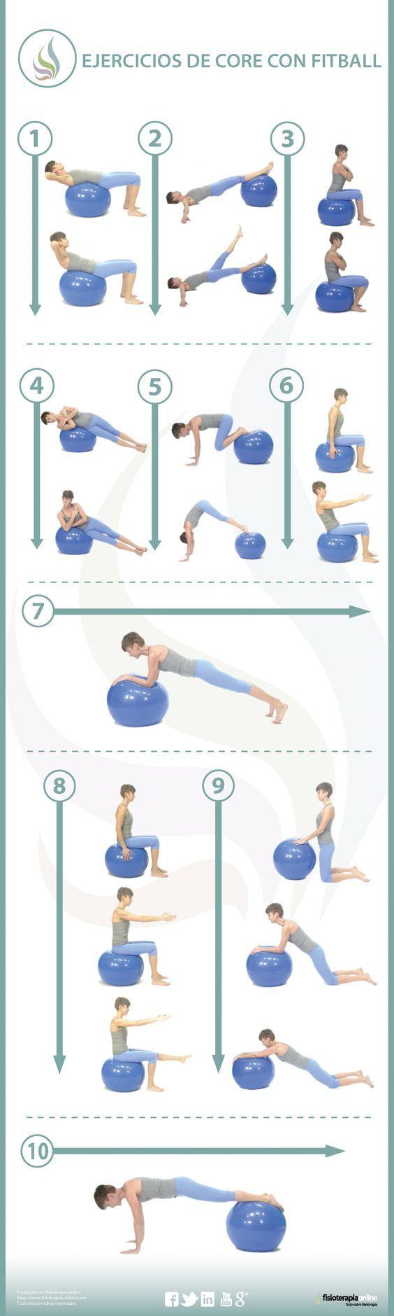 10 ejercicios para trabajar tu core con fitball