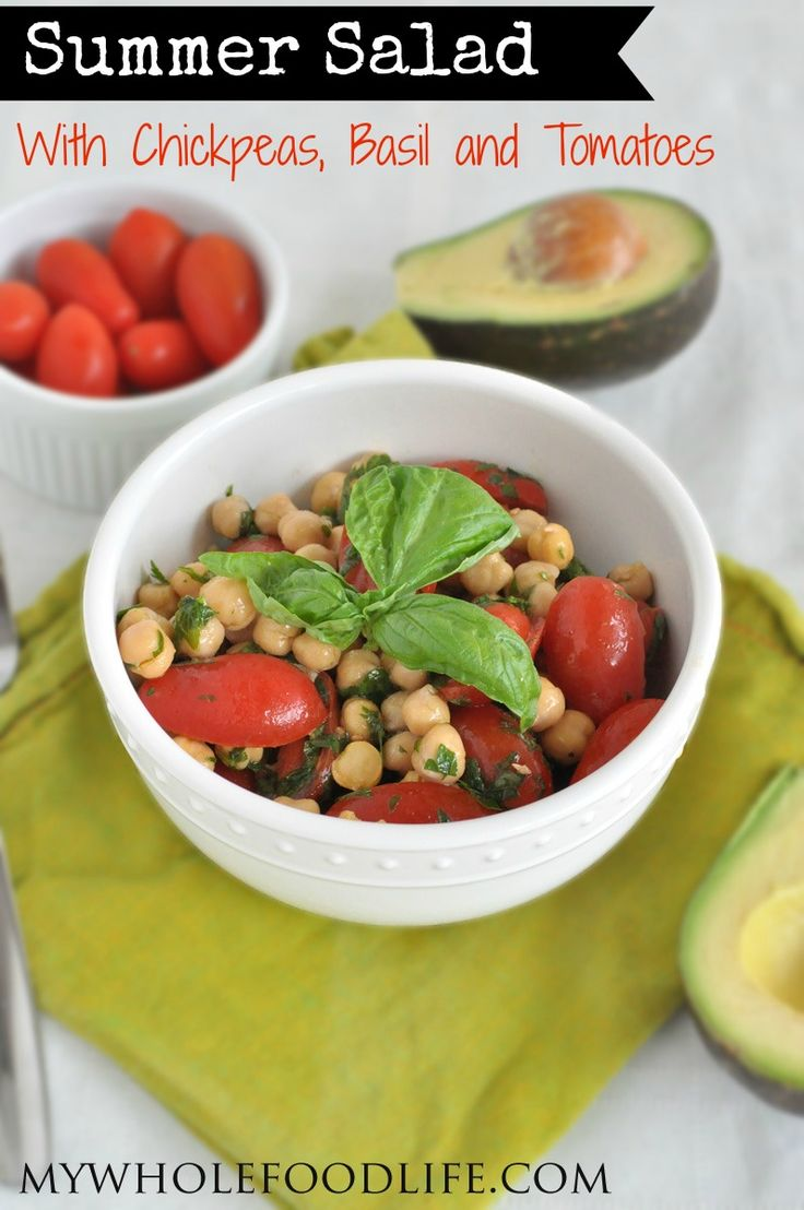 Summer Salad with Chickpeas, Basil and Tomato.  An energizing combination of ingredients that will make you glow.  #vegan #glutenfree #salads #healthyrecipe