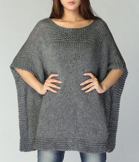 Poncho tejido a mano / capa de carbón de leña eco por MaxMelody