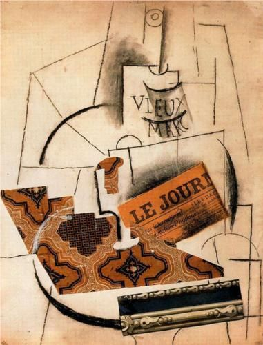 Bottle of Vieux Marc, Glass and Newspaper, 1913  Charcoal & Collage on Cardboard