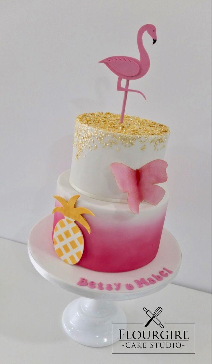 Flamingo And Pineapple Cake Pink Birthday Cake Pink And Gold Cake Flamingo Cake