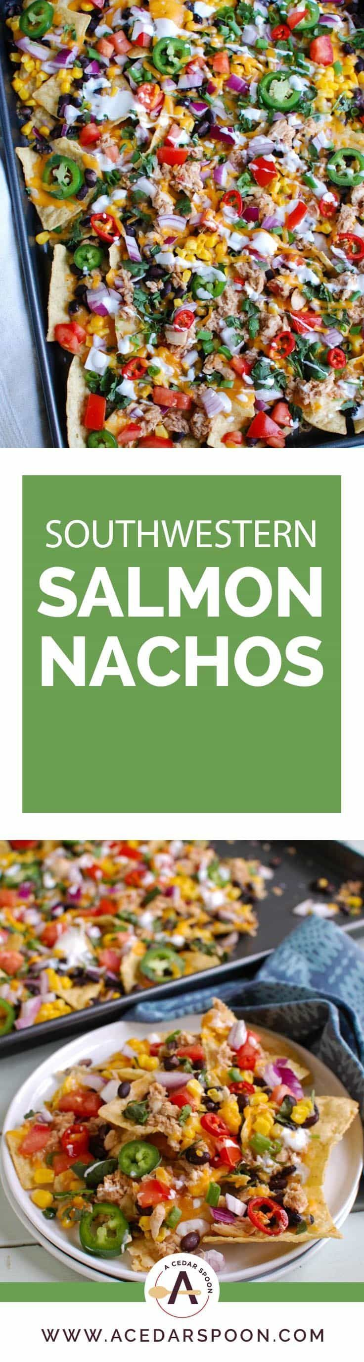 Southwestern Salmon Nachos take traditional nachos to a new level mixing salsa and salmon together and topping that with black beans, corn, shredded cheese, tomatoes, red onion, cilantro, green onion, jalapenos, red chiles and a drizzle of sour cream. The