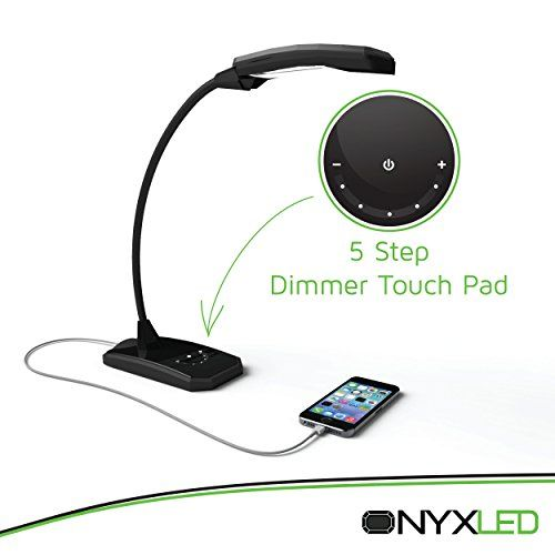 LED Desk Lamp, Touch Lamp, ONYXLED LS 1030, 3 in 1 Touch/Adjustable/USB Outlet Charger For Portable Devices, 5 Level Lamp Dimmer Touch Lamp Pad, 22 Inch Max Height Flexible Gooseneck (Outreaches Competitor Lamps) Lamp Used Primarily as a Bankers Lamp, College Lamp, Bedside Lamp, Teens Lamp, LED Desk Lamp, Office Lamp, LED Lamps, Touch Lamp, 100% Satisfaction Money Back Guarantee [BLACK]  OnxyLED®  – Natural Life, Natural Lights   OnxyLED LS1030, the upgraded version of OxyLED T120, c..