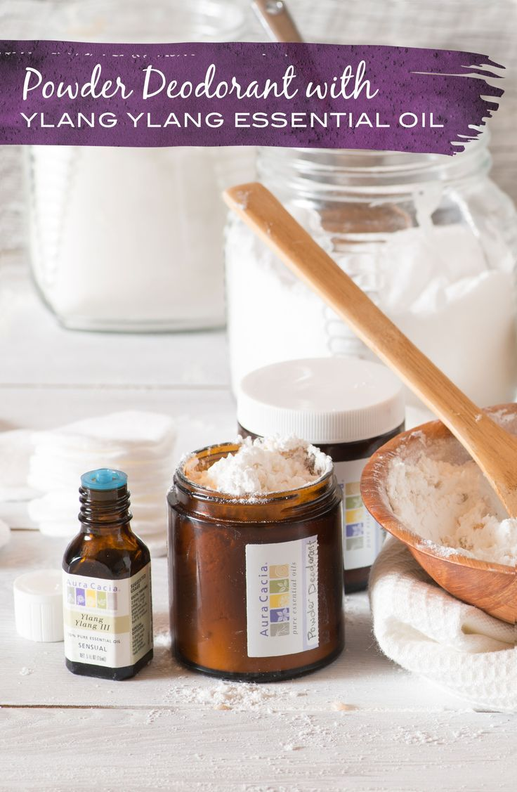 Mix up a floral DIY powder deodorant with baking soda, corn starch, rice and ylang ylang essential oil using this recipe.