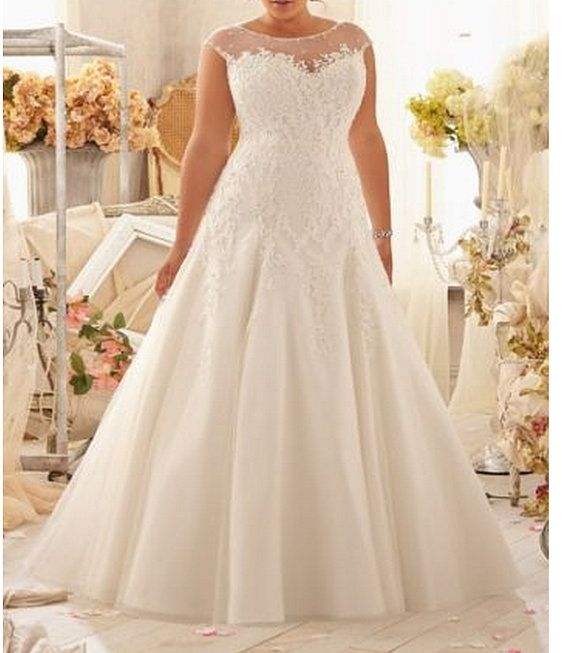 New plus size wedding dress white/ivory organza bride gown wedding dresses custom size 2014 free shipping