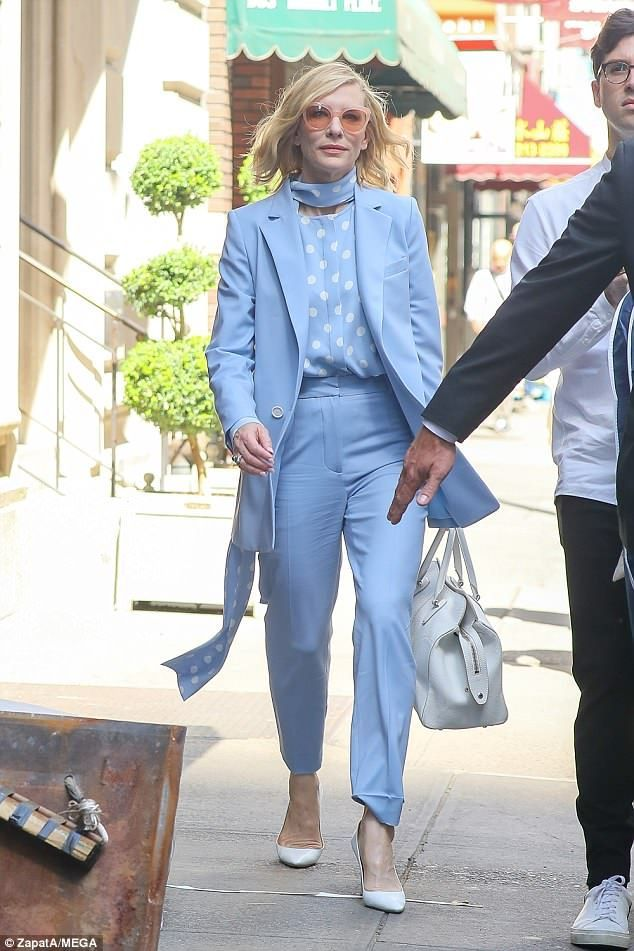 0f634a923b ... Blanchett steps out in New York amid Ocean's 8 press tour | Beautiful  Celebrities | Pinterest | Cate blanchett, Blue trousers outfit and Light  blue suit