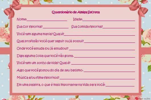 Ideia para Noite do Pijama: Questionário de Amiga Secreta