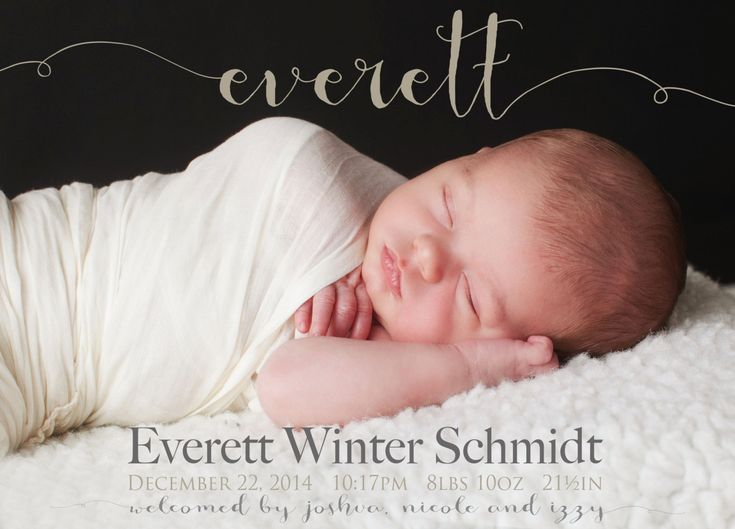 Fancy NAME BIRTH ANNOUNCEMENT Photo Baby Announcement Baby