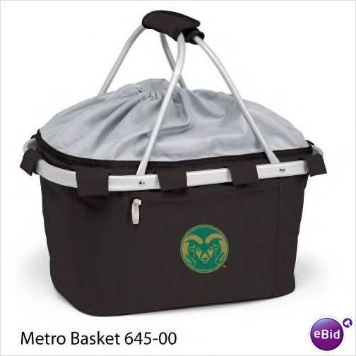 COLORADO STATE .. This Metro picnic basket is a lightweight, fully-collapsible, insulated basket that can be used for many occasions. It's made of durable 600D polyester canvas and features a water-resistant interior and expandable drawstring top and sturdy aluminum frame from which the canvas detaches for easy cleaning. The Metro picnic basket is a thoughtful gift for those always on the go! $47.95
