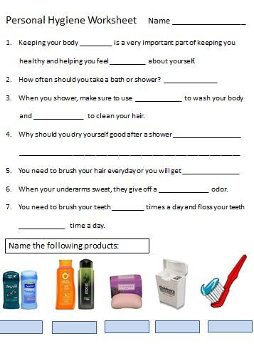 personal hygiene worksheet