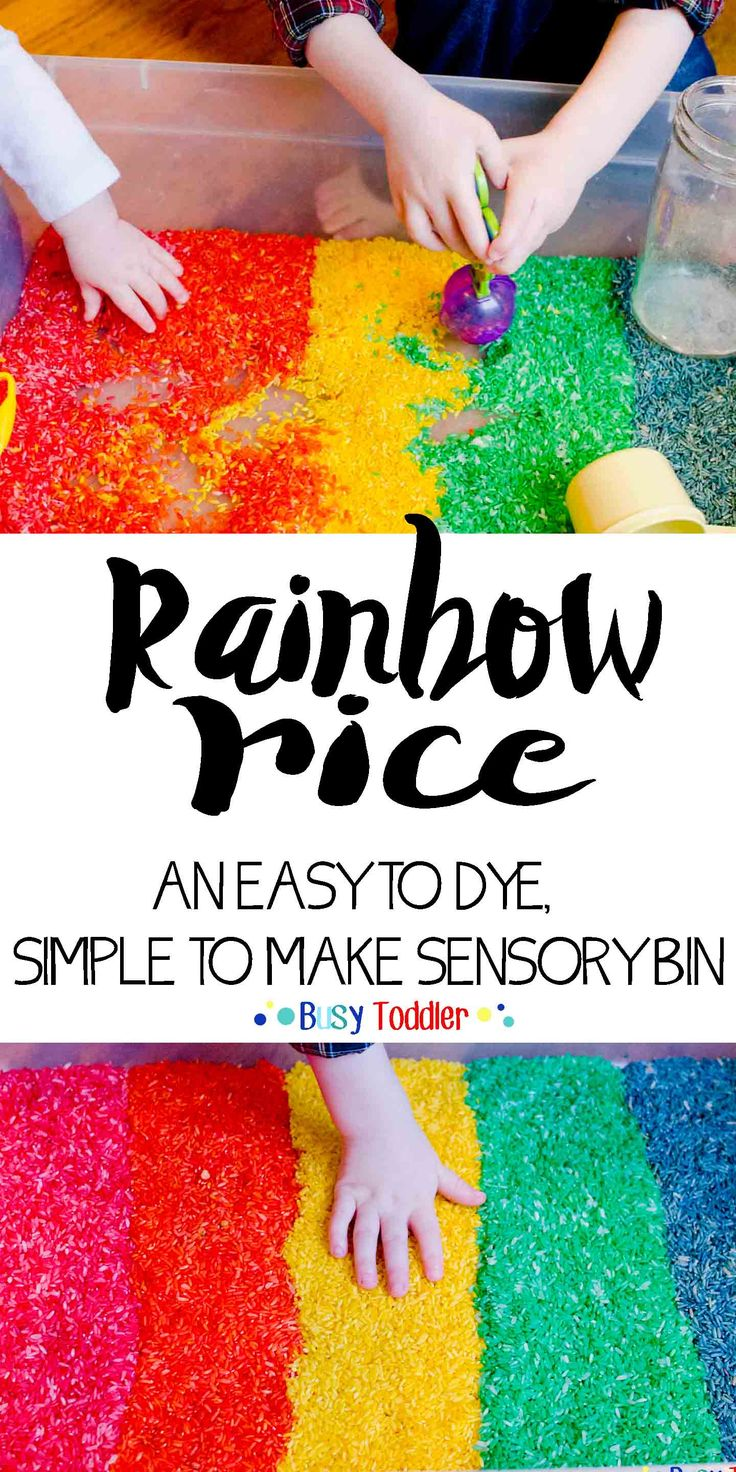 Rainbow Rice Sensory Bin: An easy toddler activity; great for babies, toddlers and preschoolers to play