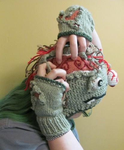 Shredded zombie flesh fingerless gloves knit and crochet horror   something for monster
