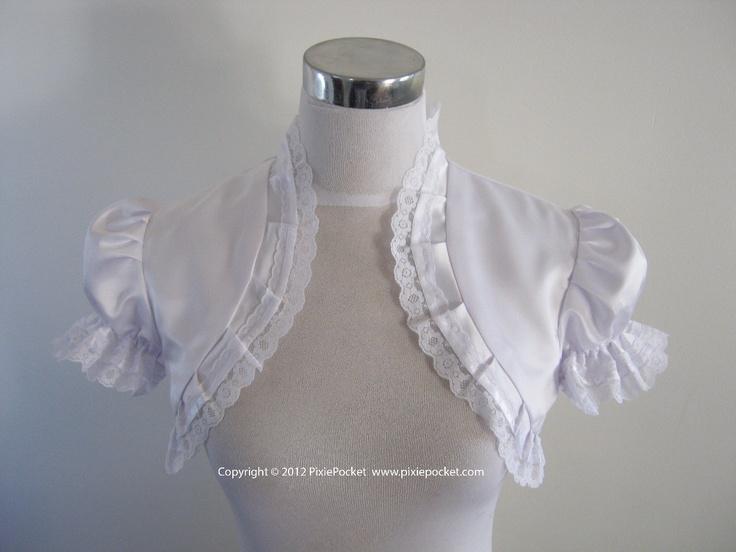 "White ""Glenda""  Duchess Satin Wedding Bolero / Shrug with Puff Sleeves and Pleated Lace Trim. $70.00, via Etsy."
