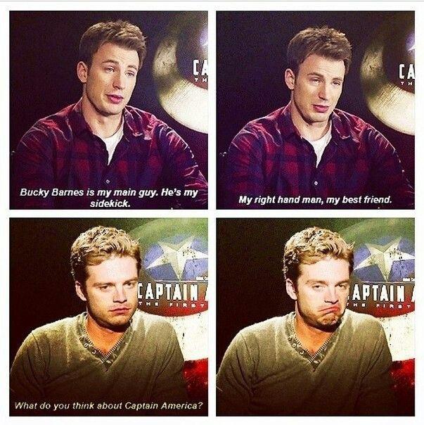 Chris Evans and Sebastian Stan. Haha Sebastian's like... *shrugs*