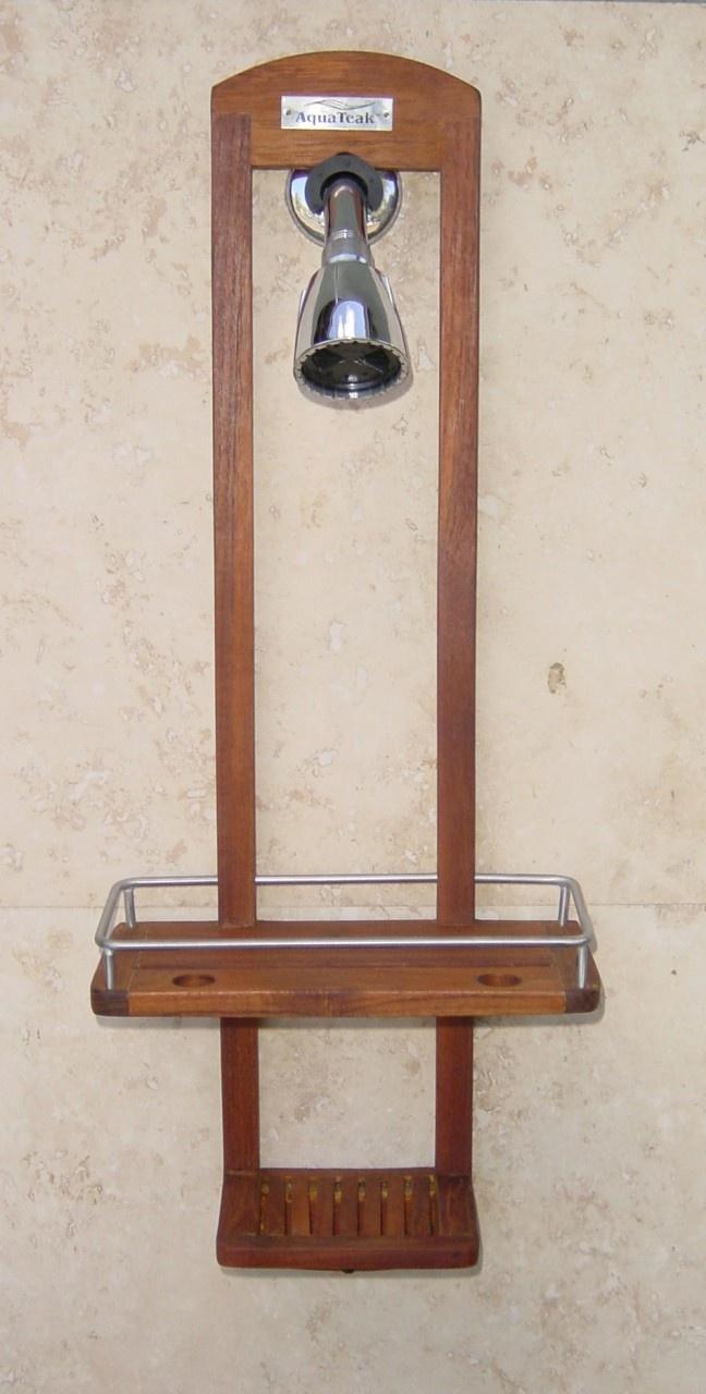 Teak Shower Caddy Bathtub Accessories Shower Rack