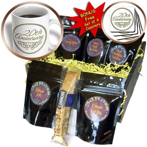 InspirationzStore Occasions - 20th Anniversary gift - gold text for celebrating wedding anniversaries - 20 years married together - Coffee Gift Baskets - Coffee Gift Basket (cgb_154462_1)