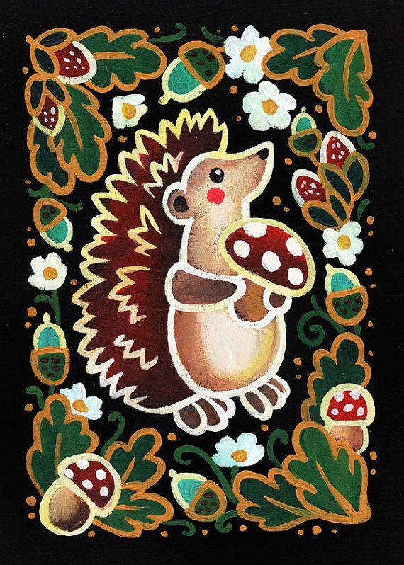 Hedgehog Folk Art Print Wall Art Home Decor 5x7 by ArtFaina