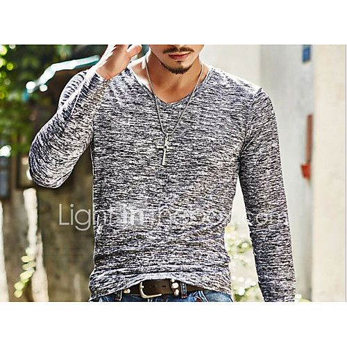 Men's Going out Casual/Daily Simple Spring Fall T-shirt,Print V Neck Long Sleeves Cotton 2017 - $5.99