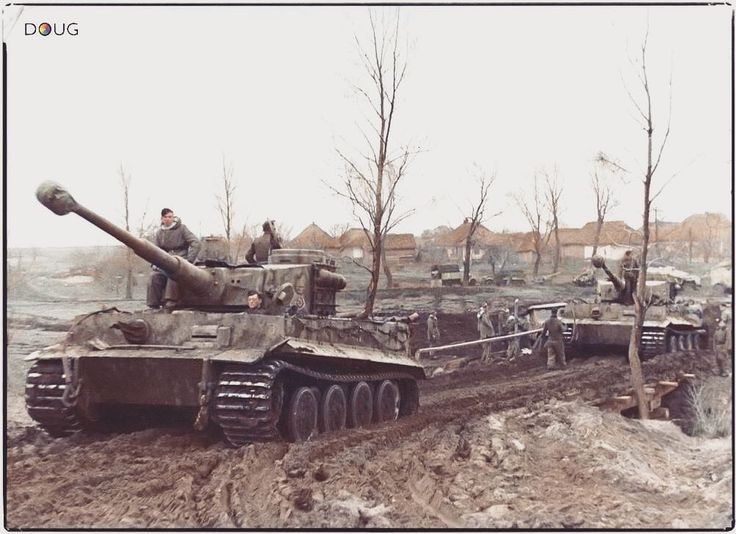 """Tigers in the mud at the eastern front, 1944. Could easily have been an alternate cover shot for the Otto Carius book """"Tigers in the Mud"""", which was published in 17 languages. ––––––––––– Any questions? Shoot me ein message. ––––––––––– facebook.com/tigeracecarius twitter.com/tigeracecarius ©️All copyrights and trademarks are property of their respective owners. ––––––––––– #ww2 #wwii #worldwartwo #worldwar2 #panzer #tankers #wehrmacht #waffenss #ww2history #dday #axis #allied #easternfront…"""