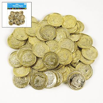 Shiny Gold Coins (144).  Use these plastic coins as table scatters, treasure or prize money at a child's party! Let kids save and redeem their coins for toys, lollies or other treasures. Why not add them to goody loot bags. These are great to use to decorate tabletops.   (144 pcs.; assorted; 3.81 cm)