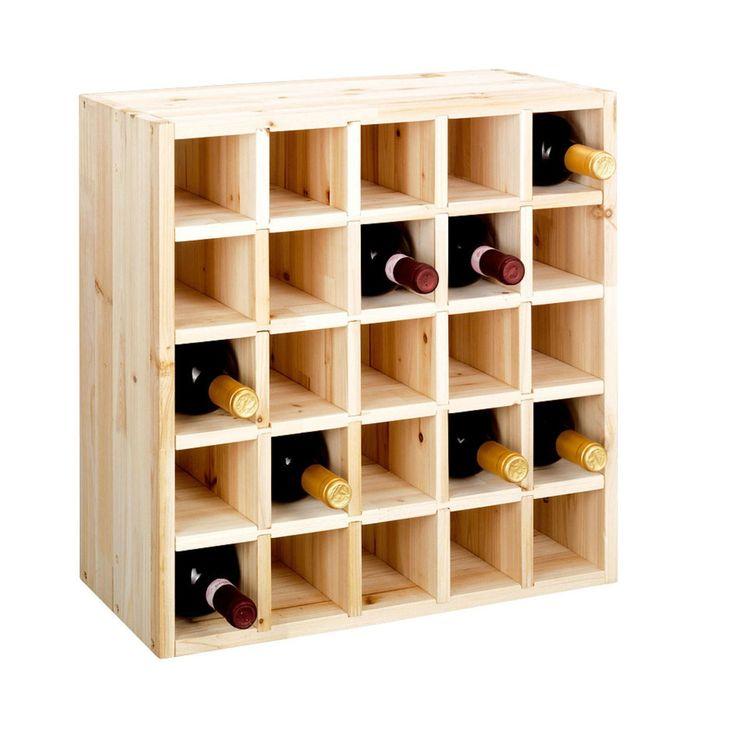 """Système d' étagère à vin CUBE 52, en bois massif, nature, module 3 """"casier séparé """" pour 25 bouteiles, empilable / extensible - H 52 x L 52 x P 25 cm: Amazon.fr: Bricolage"""