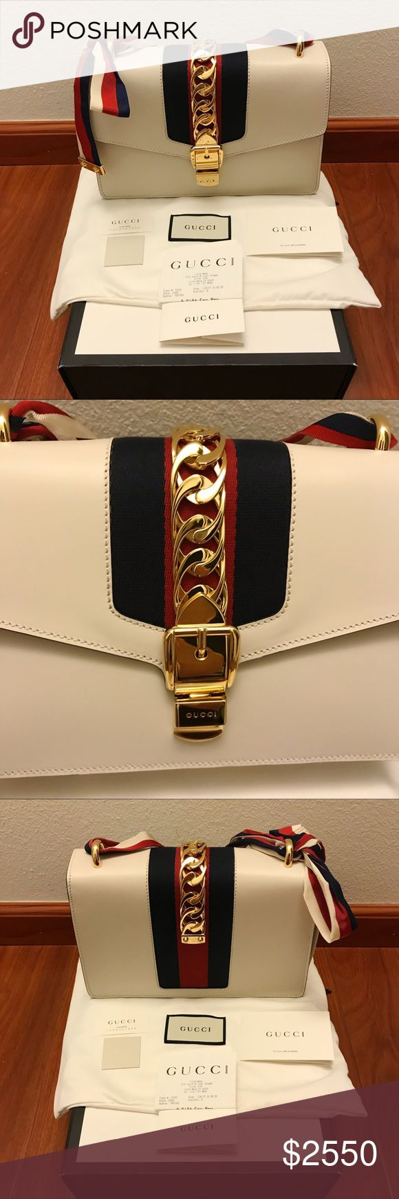 Gucci Sylvie Off White Leather Shoulder Bag Purse Guaranteed authentic, with gift receipt from South Coast Plaza. Used only once, as seen from pictures it is in like new condition! Lovely purse but its just been sitting in my closet therefore I'm selling it. Comes with everything in picture - box, dust bag, gift receipt, booklet. Price negotiable through 🅿️🅿️. NO TRADES, only interested in selling. Gucci Bags Shoulder Bags