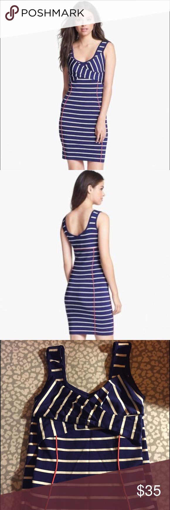 ⚓️Jessica Simpson Nautical BodyCon Dress⚓️ This bandage Nautical Jessica Simpson dress will be sure to have you ready for summer. It hits the curves in all of the right spots. Material is good quality and dress is in fantastic condition! Dress is navy blue and white striped with red piping detail. Dress is XS but has stretch. Jessica Simpson Dresses