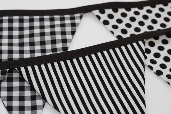 Black & White Bunting  9 flags  Ready to by RainbowSparklesBlue