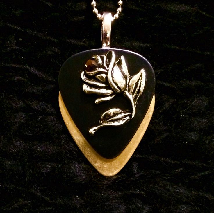 Metallic Rose Guitar Pick Necklace with crystal