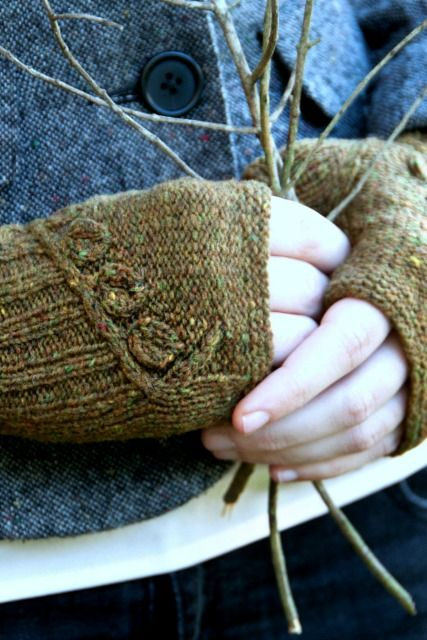 Twigs and Willows mitts from Botanical Knits 2 - fingering weight yarn, quick and lovely knit.