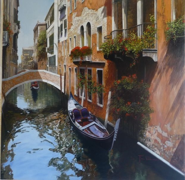 Raffaele Fiore - Summer in Venice - oil on canvas   39x39 inches