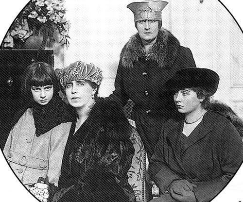 Queen Marie of Romania and her daughters: Princess Elisabeth, Princess Marie, and Princess Ieana