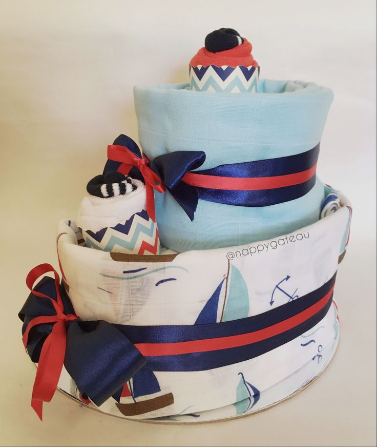 Nautical nappy cake  Etsy.com/shop/nappygateau