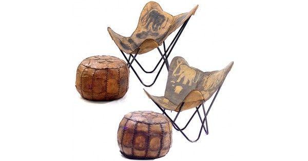 Garnitură Mid-Century de scaune safari & tabureți - piele naturală - cca.1950